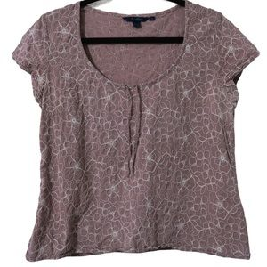 Boden Mauve Short Sleeve White Floral Embroidered Top Round Neck Casual 16